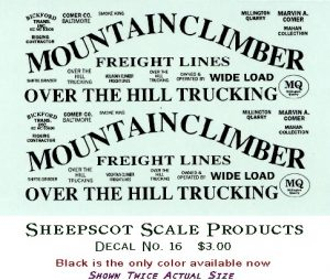 Sheepscot Scale Decals